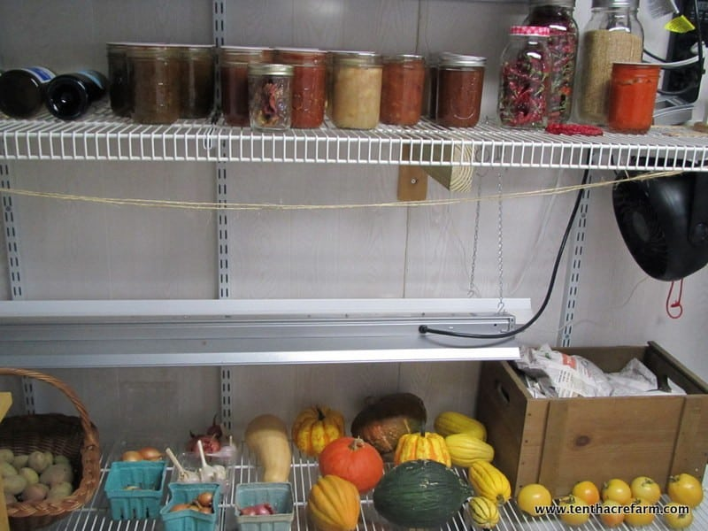 Our makeshift root cellar a few years ago: canned, dehydrated & dried, and fresh winter storage vegetables in the Seedstarting Room.